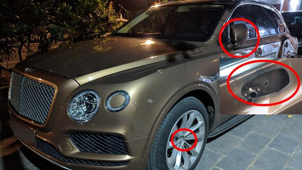 Chiếc Bentley Bentayga này cũng từng bị kẻ gian vặt gương chiếu hậu bên tài và 4 chụp mâm nhưng đã được hoàn trả