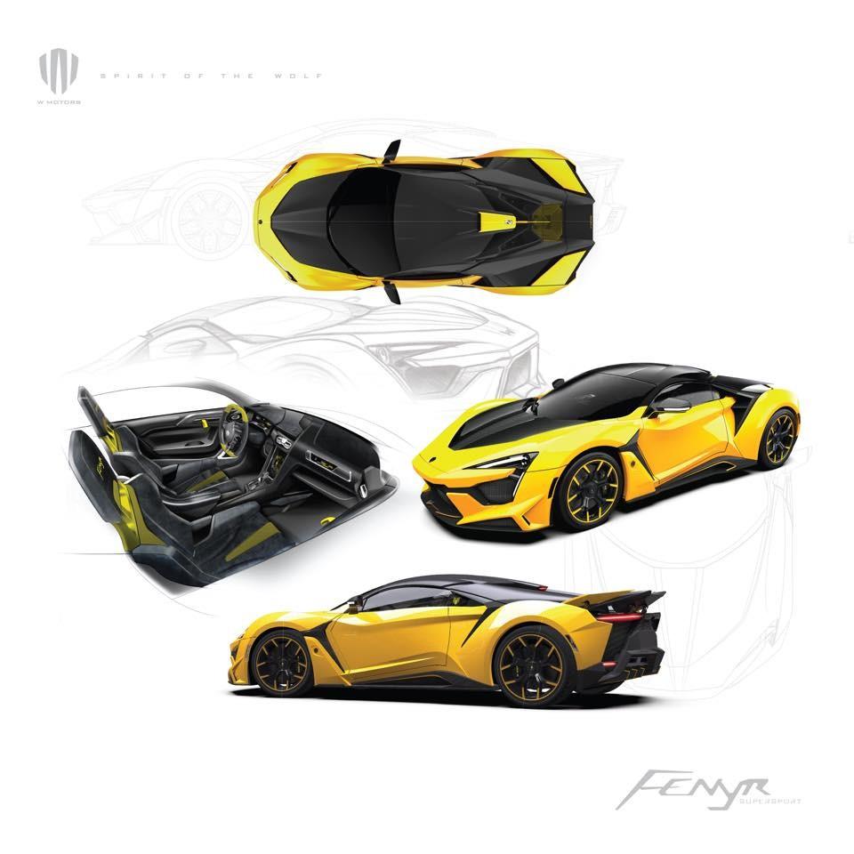 Hình ảnh phác họa những chiếc Fenyr SuperSport với màu sắc khác nhau