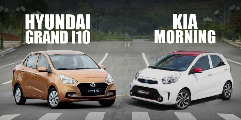 Kia Morning 2019 đặt cạnh Hyundai Grand i10