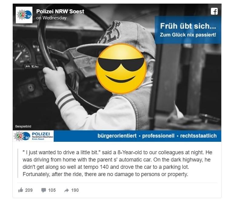 Cảnh sát Soest, Đức, chia sẻ vụ việc lên mạng xã hội Facebook
