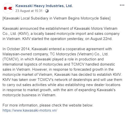 Kawasaki thông báo về việc thành lập công ty con Kawasaki Motors Vietnam