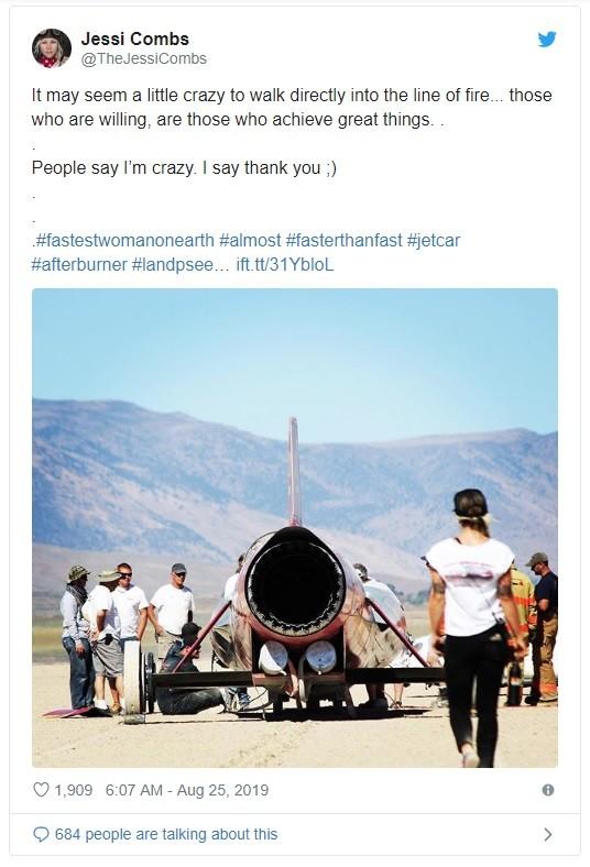 Dòng tweet cuối cùng của Jessi Combs trên mạng xãhội Twitter vào ngày 25 tháng 8 năm 2019