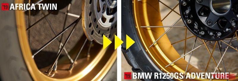 Honda Africa Twin 1100 2020 sẽ sử dụng vành nan cross-spoke cùng lốp không săm giống với BMW R1250GS