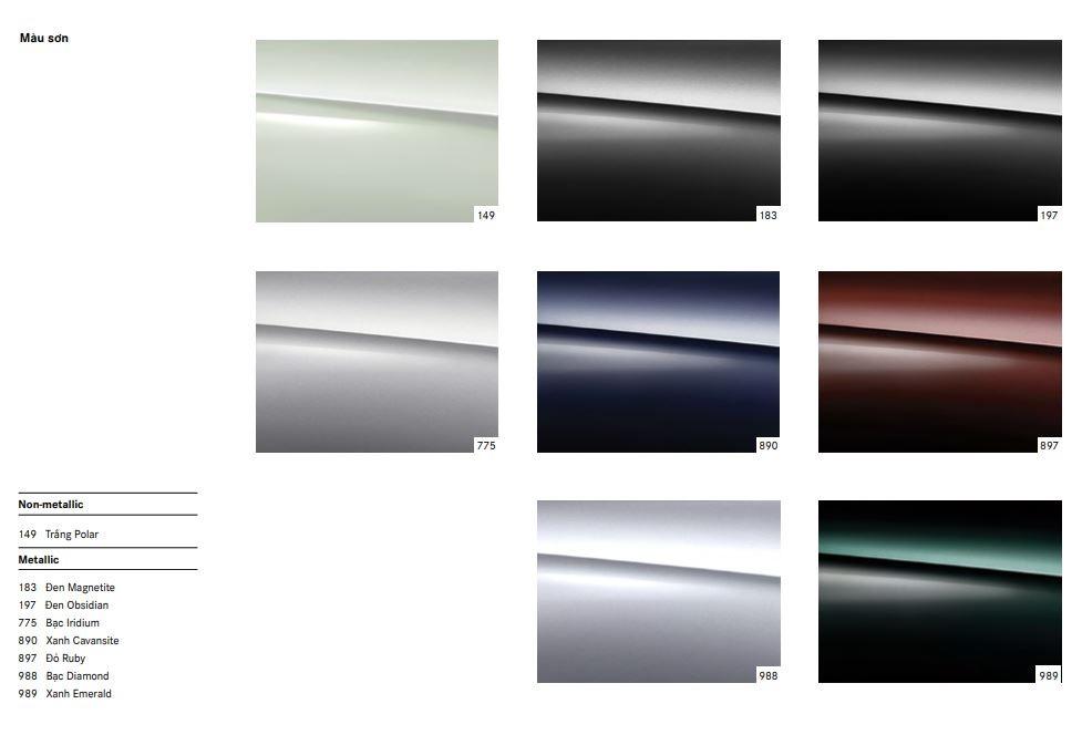 Bảng màu chi tiết Mercedes-Benz S450