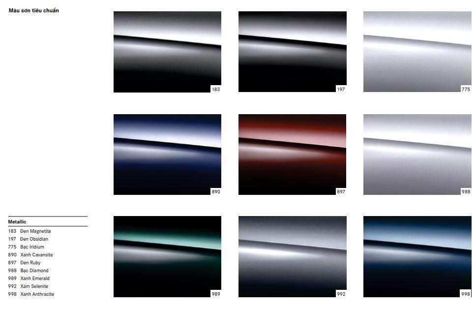 Bảng màu tiêu chuẩn của Mercedes-Maybach S560