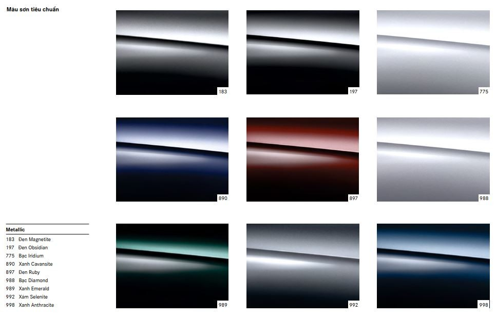 Bảng màu tiêu chuẩn của Mercedes-Maybach S650