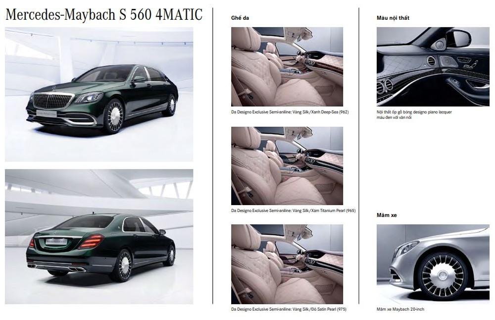 Các tùy chọn nội thất của Mercedes-Maybach S560
