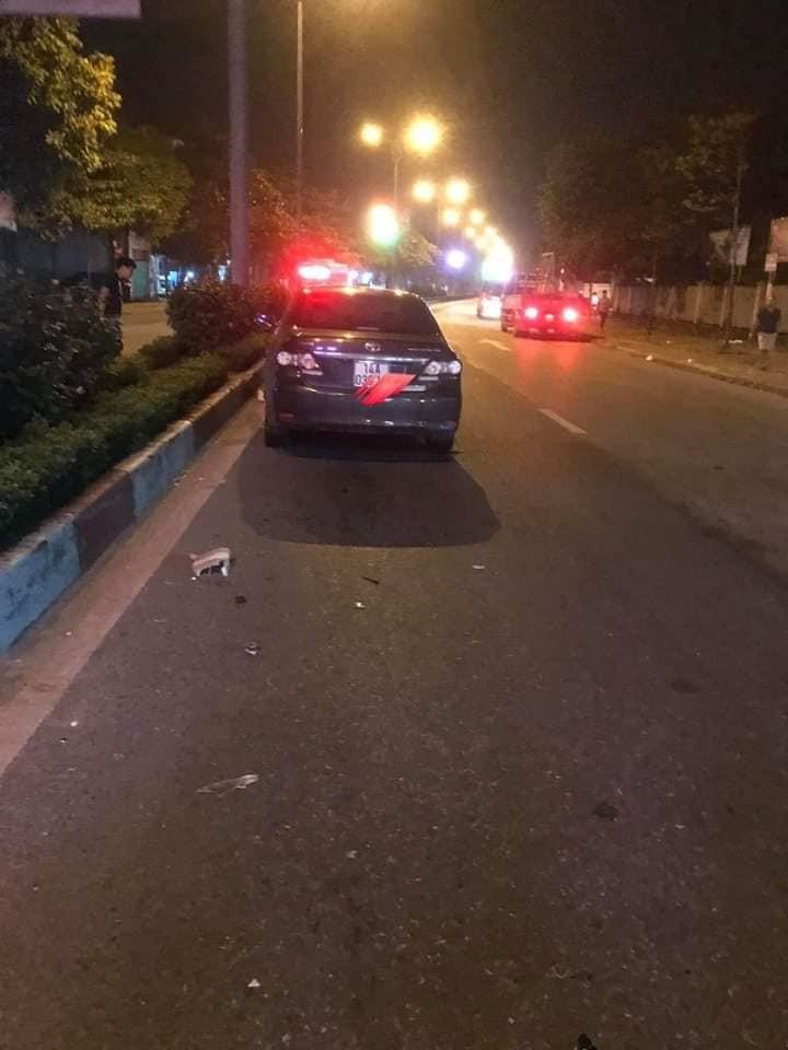 Chiếc Toyota Corolla Altis tại hiện trường vụ tai nạn