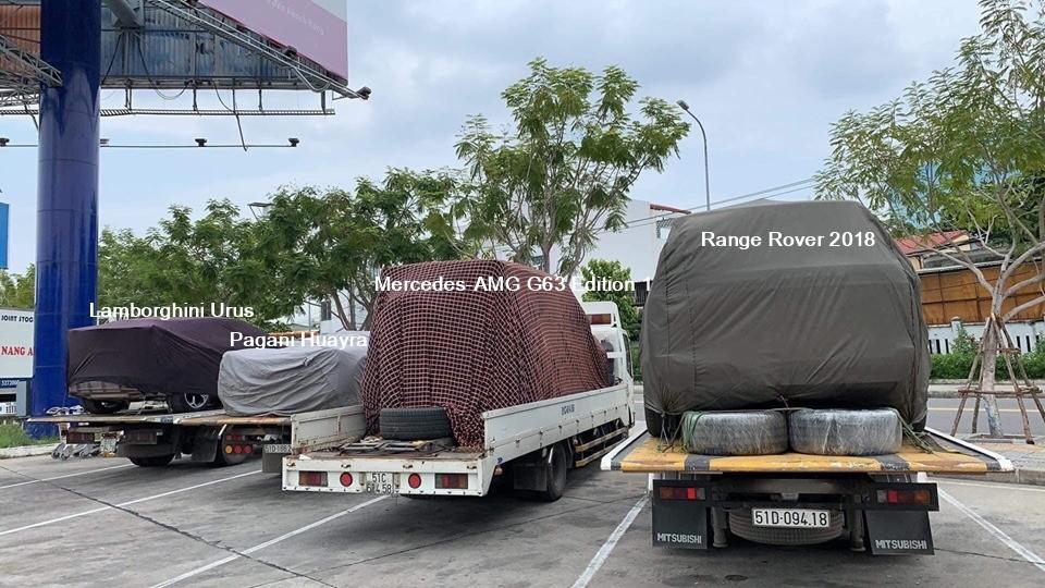 Minh Nhựa lần đầu tiên vận chuyển Pagani Huayra cùng 3 chiếc SUV khủng ra tận Đà Nẵng