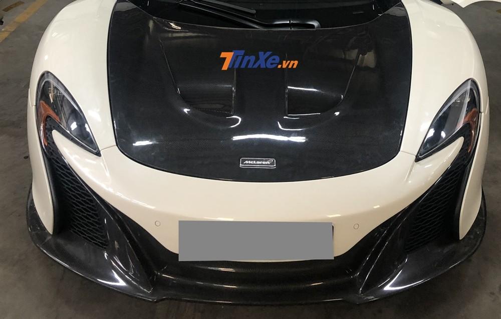 Cận cảnh đầu xe McLaren 650S Spider khi độ nắp capô McLaren P1
