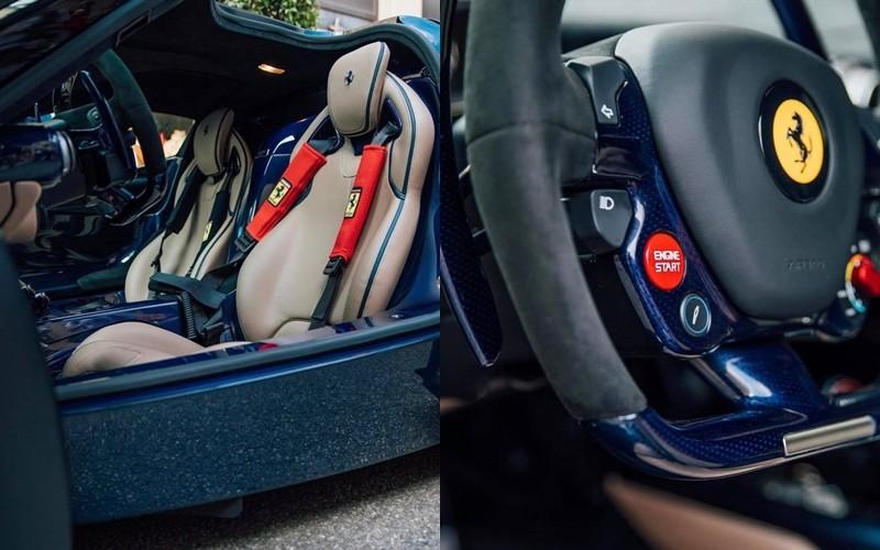 Nội thất siêu xe Ferrari LaFerrari màu sơn xanh Blu Ahrabian