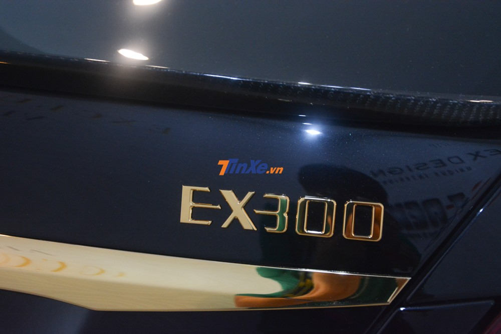 Đằng sau xe, chiếc Mercedes-Benz E300 AMG cũng được chủ nhân tháo toàn bộ logo zin theo xe ra và gắn các logo theo bản độ của mình đã được mạ vàng