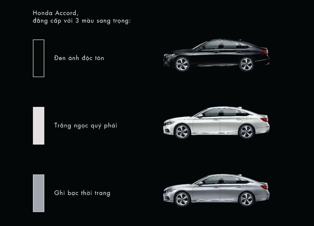 Bảng màu tùy chọn của Honda Accord 2019
