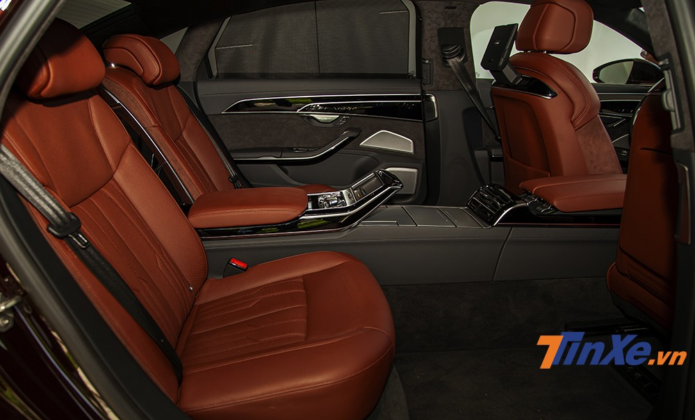 Rear seats of Audi A8L are very spacious and fully equipped.