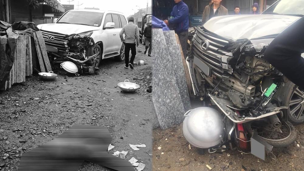 Tai nạn giao thông giữa Lexus LX570 và xe máy khiến một phụ nữ tử vong tại chỗ