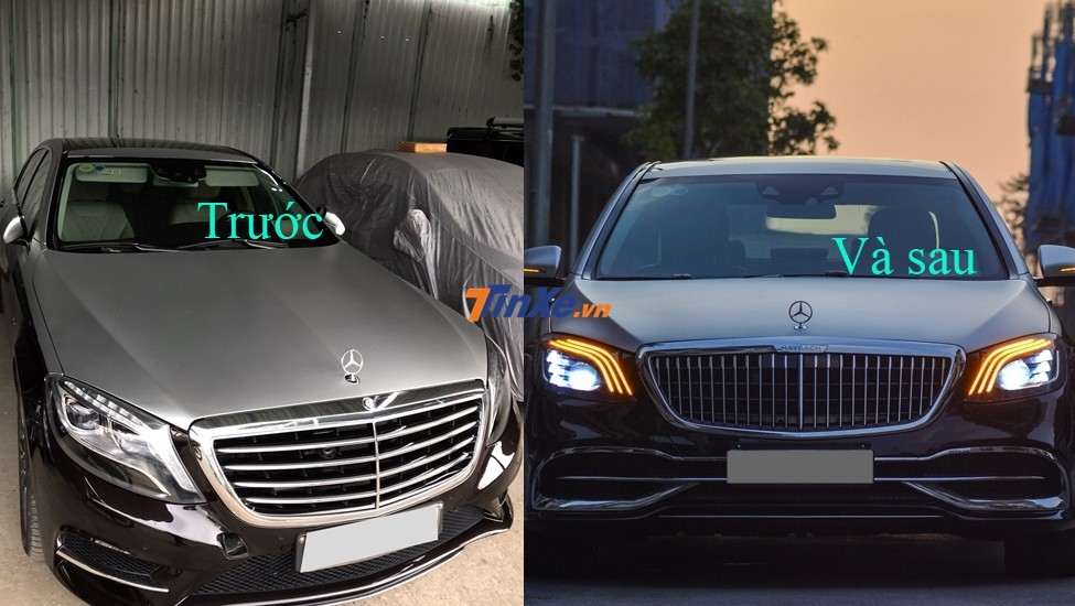 2013 Mercedes-Benz S500 before and after the 2019 Mercedes-Maybach body kit