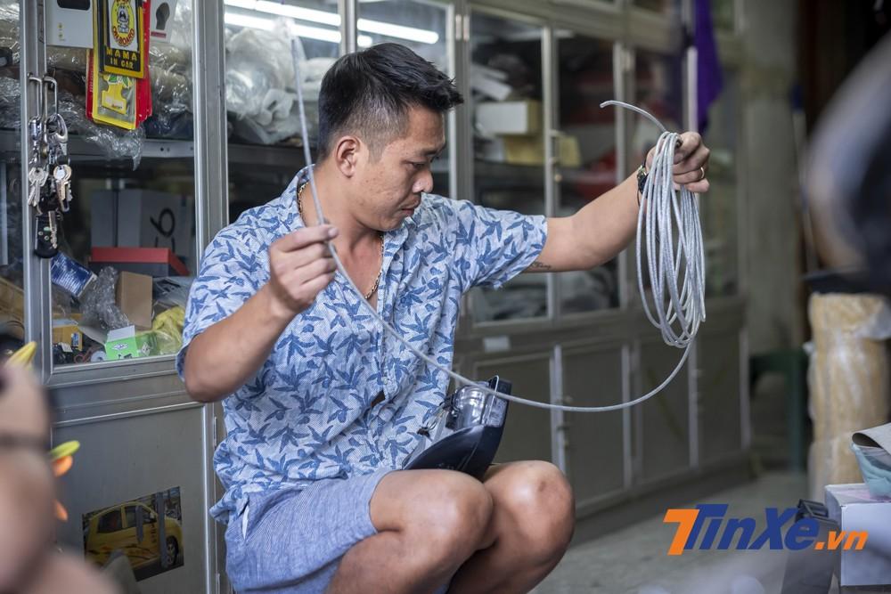 Lựa chọn loại dây cáp có kích thước phù hợp với xe.