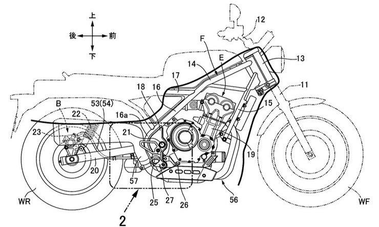 Bản vẽ được cho là mẫu Honda Scrambler 500 đang được Honda nghiên cứu