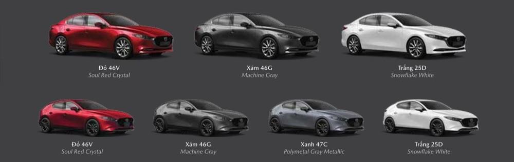 Các tùy chọn màu sắc ngoại thất của Mazda3 2020