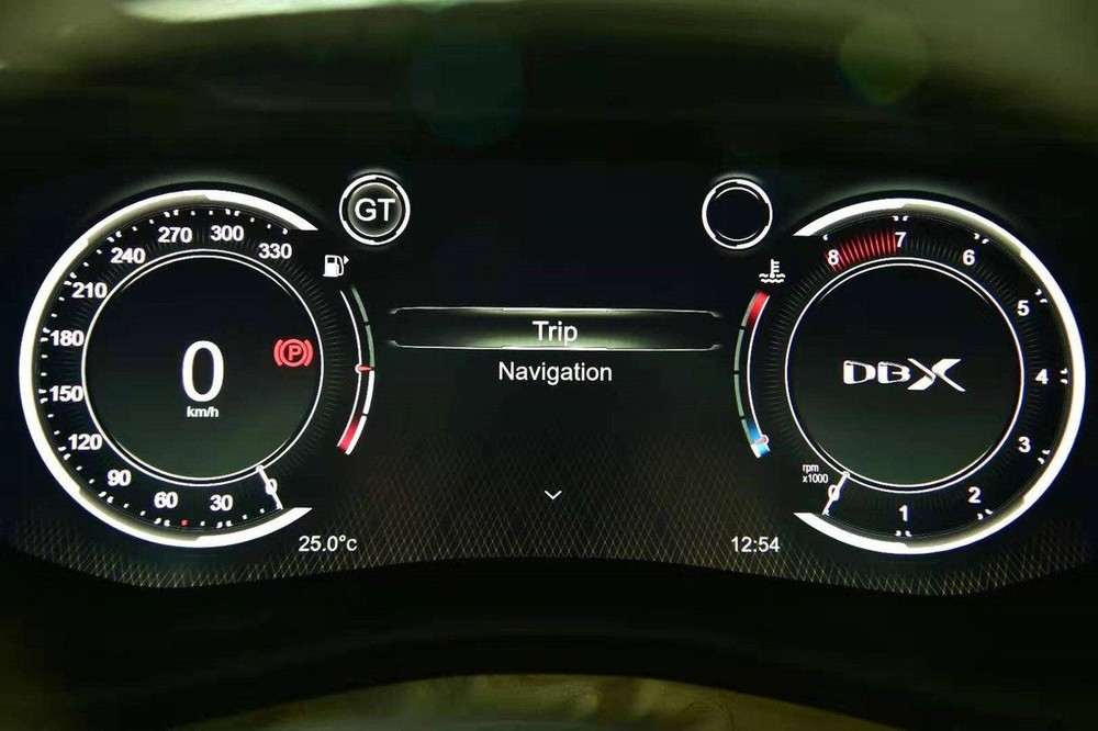 Digital dashboard of the Aston Martin DBX 2020