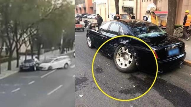 Còn đây là thiệt hại của chiếc xe siêu sang Rolls-Royce Ghost