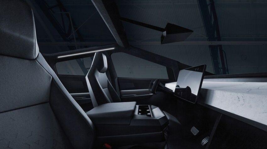 Nội thất tối giản của Tesla Cybertruck