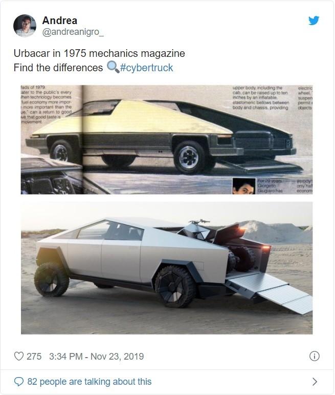 So sánh thiết kế của Cybertruck với Urbacar trong tạp chí cơ khínăm 1975