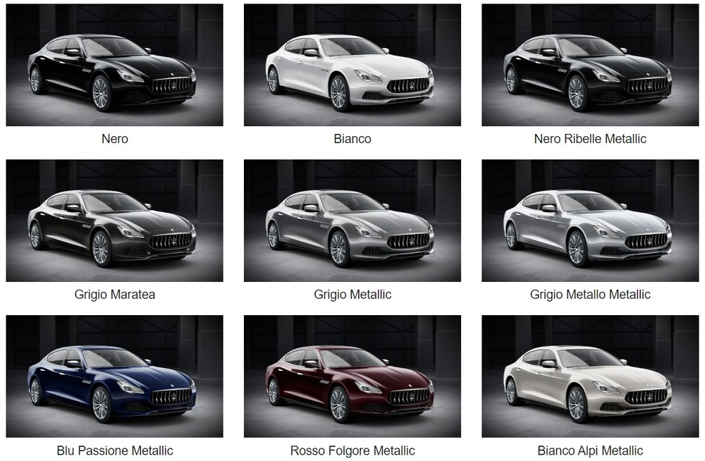 Bảng màu sắc xe Maserati Quattroporte