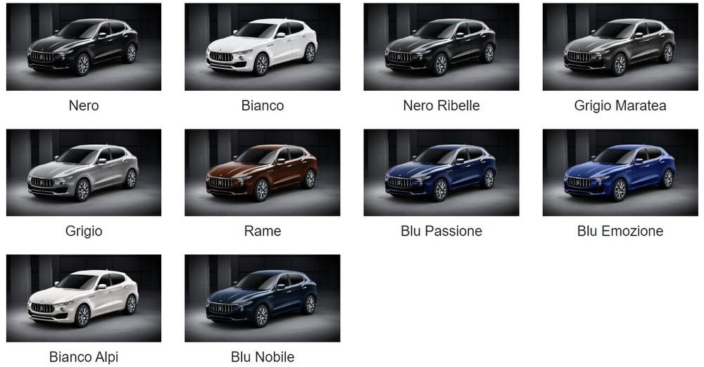 Bảng màu sắc ngoại thất của Maserati Levante 2019