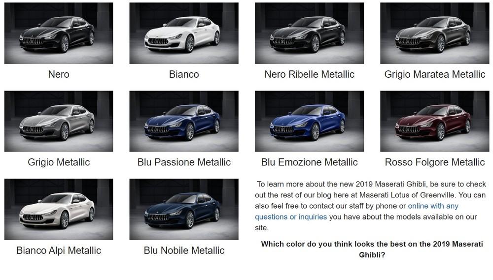 Bảng màu sắc tùy chọn của Maserati Ghibli 2019