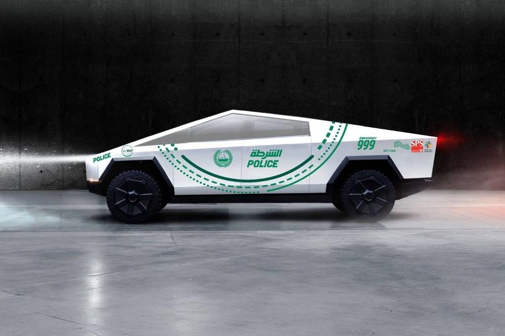 Tesla Cybertruck dán tem của cảnh sát Dubai