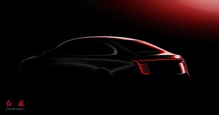 Thiết kế đuôi xe của Hồng Kỳ H7 2020 được hé lộ qua hình ảnh phác họa chính thức