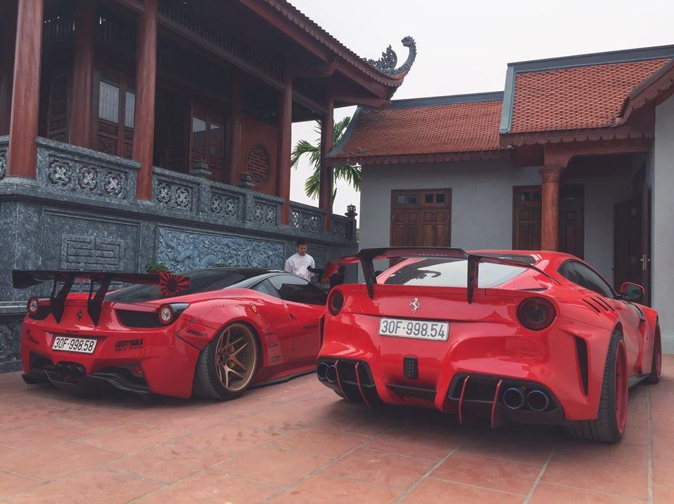 Địa điểm chiếc Ferrari 458 Italia độ Liberty Walk và siêu xe Ferrari F12 Berlinetta Duke Dynamics dừng chân là nhà của chủ Lamborghini Aventador S độc nhất Việt Nam