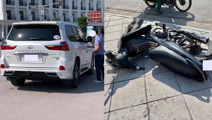 Vụ va chạm của SUV hạng sang Lexus LX570 Super Sport và xe máy ở Quảng Ninh. Ảnh: Đình Ngọc