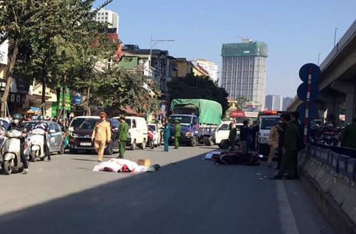 Vụ tai nạn xảy ra vào khoảng 10h sáng trên đoạn đường gần hầm chui Thanh Xuân hướng Hà Đông