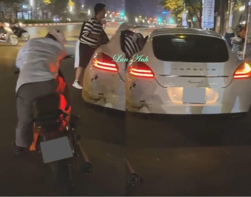 Hiện trường vụ tai nạn của Porsche Panamera và xe máy tại Hà Nội vào tối ngày 8 tháng 12