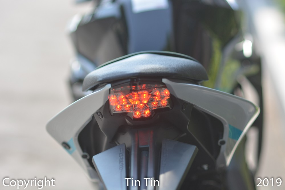 And this is the taillight of the Chinese naked bike CFMoto 400NK