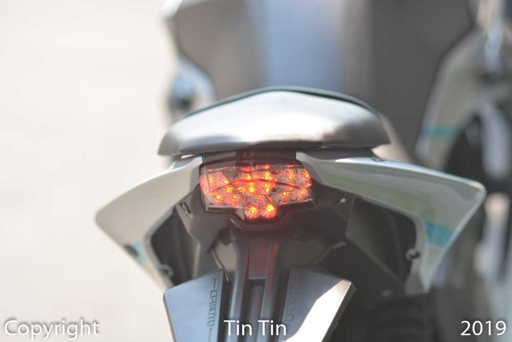Close-up of LED taillights of CFMoto 650NK
