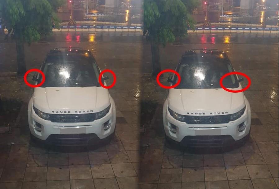 Kẻ gian chỉ mất 31 giây để vặt sạch sẽ cặp gương chiếu hậu của chiếc SUV hạng sang Range Rover. Ảnh: Cảnh Loan