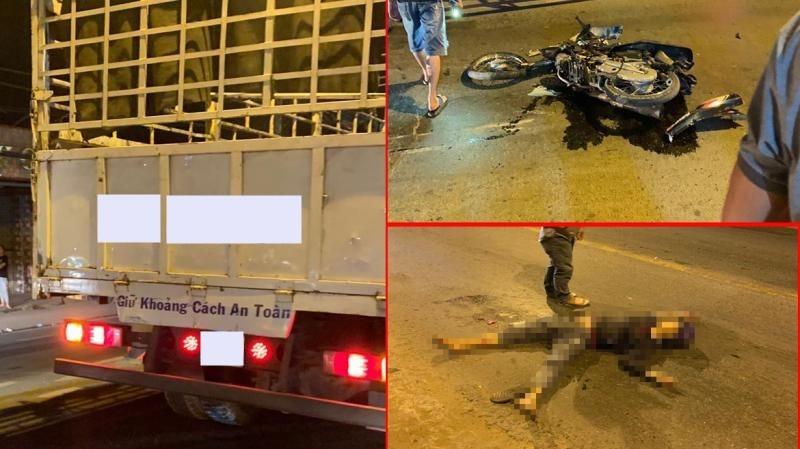 Hiện trường vụ va chạm giao thông giữa xe máy với xe tải khiến nam thanh niên chạy xe máy tử vong tại chỗ
