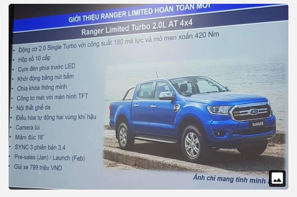 Hình ảnh được cho là thông số kỹ thuật của Ford Ranger XLT Limited 2020 mới về Việt Nam