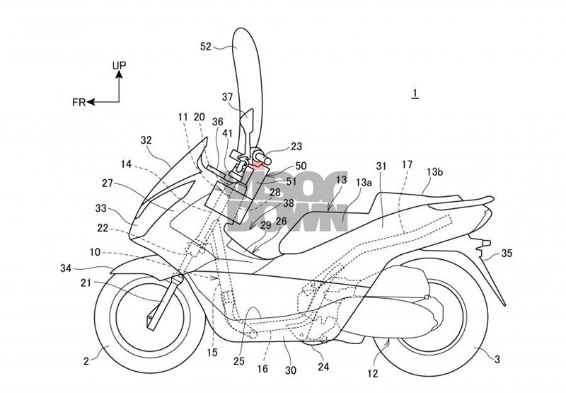 A drawing of a scooter with integrated safety airbags was revealed by Honda