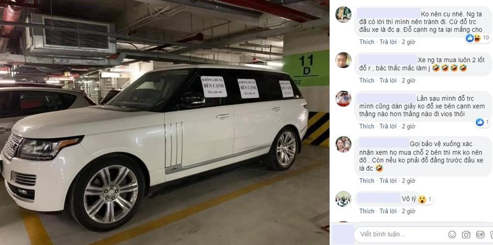 Một vài ý kiến của cư dân mạng nói việc chủ xe Range Rover dán tờ giấy gây tranh cãi