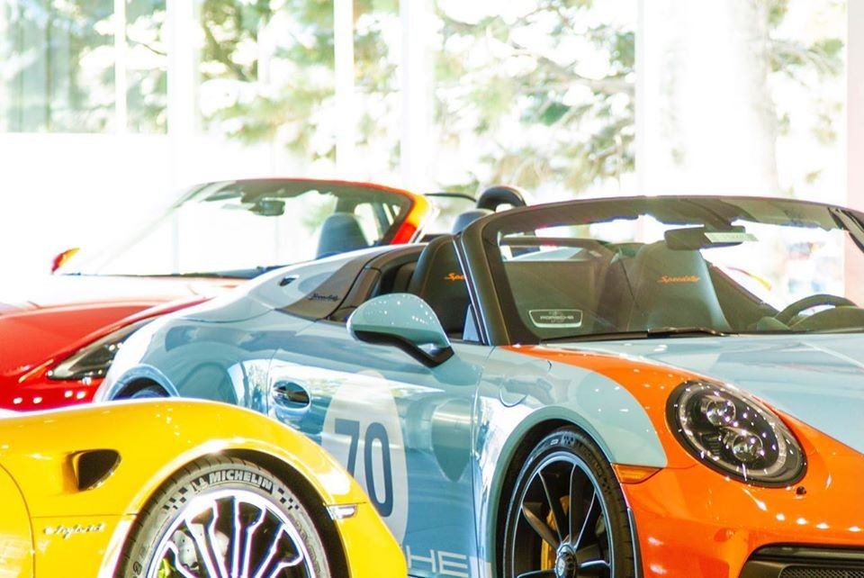 The Gulf Livery paint on this Porsche 911 Speedster is inspired by past Porsche Gulf racing cars.