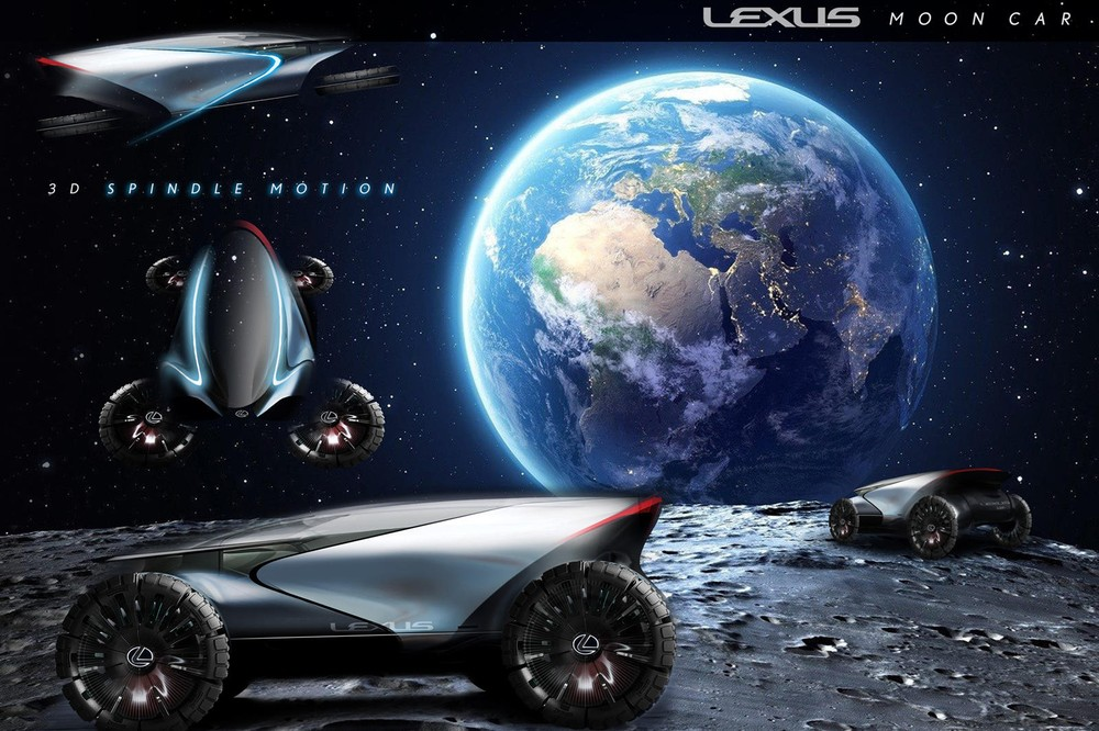 Lexus Lunar Cruiser uses wheels that can turn 90 degrees and go into flight