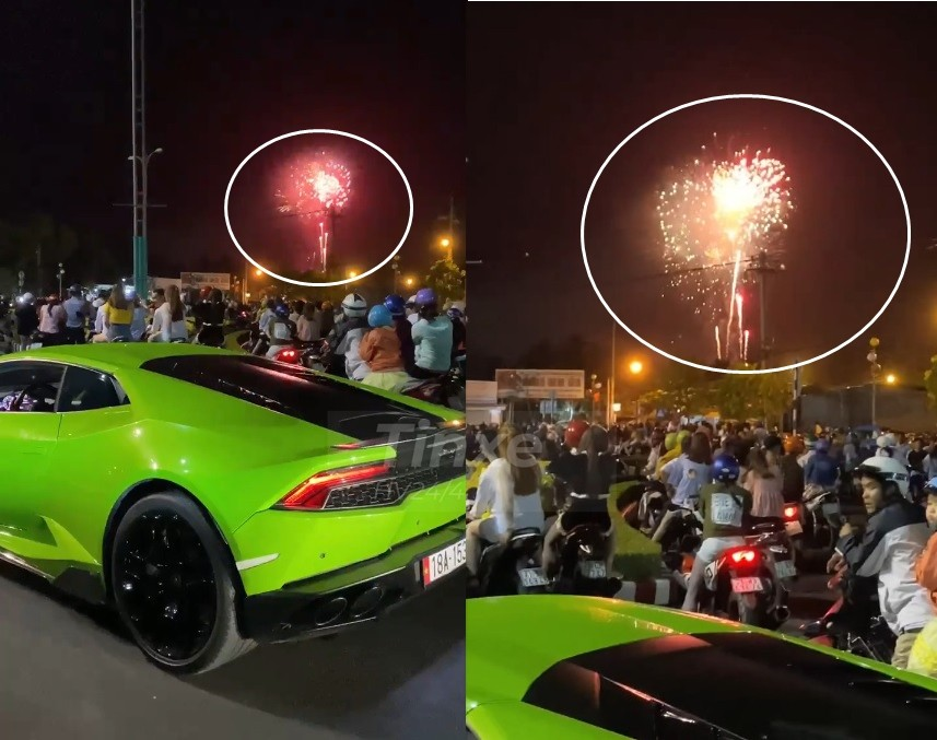 Supercar blue Huracan LP610-4 green welcome New Year's Eve in Ben Tre