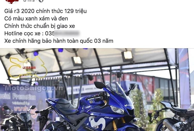 Báo giá Yamaha R3 2020 với mức giá 129 triệu đồng