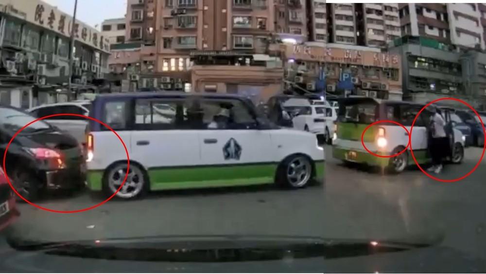 Hai tình huống xảy ra là chiếc ô tô màu trắng-xanh lùi trúng chiếc ô tô màu đen. Sau đó, nữ tài xế bước xuống xe nhưng vẫn để số lùi khiến chiếc ô tô trôi về sau