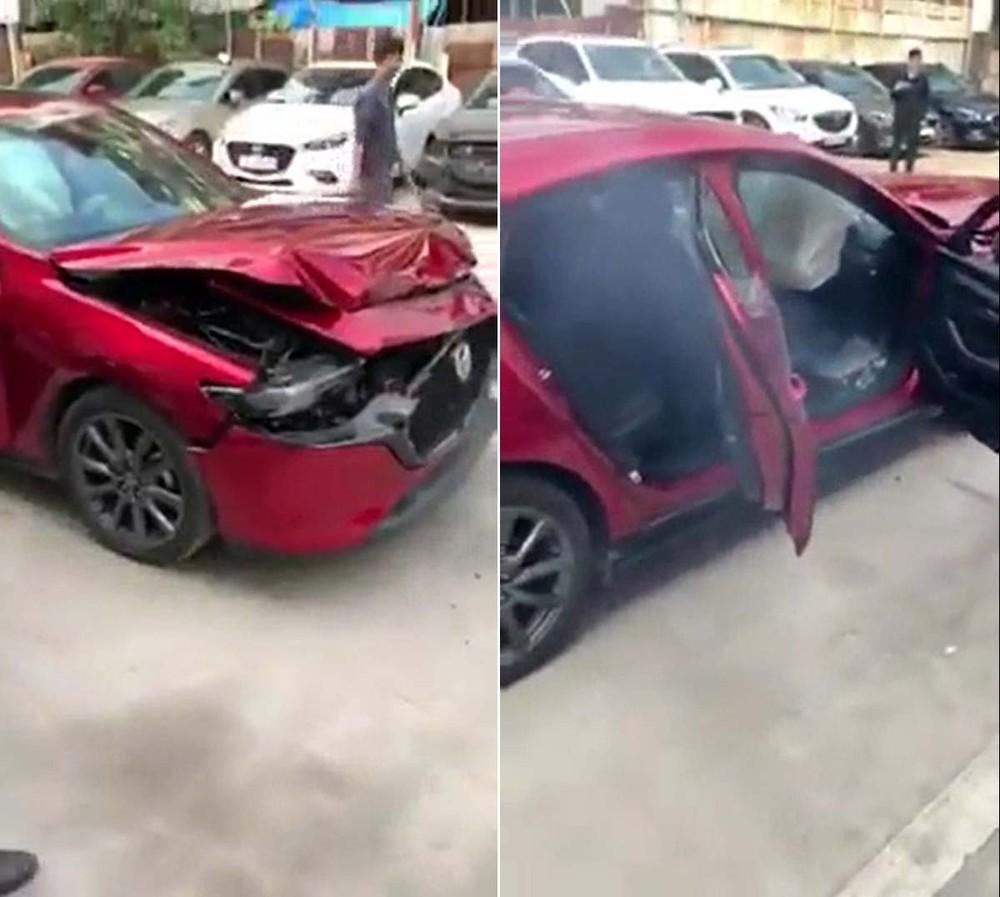 Chiếc Mazda3 2020 bị hỏng đáng kể sau thử nghiệm tại đại lý Mazda Giải Phóng