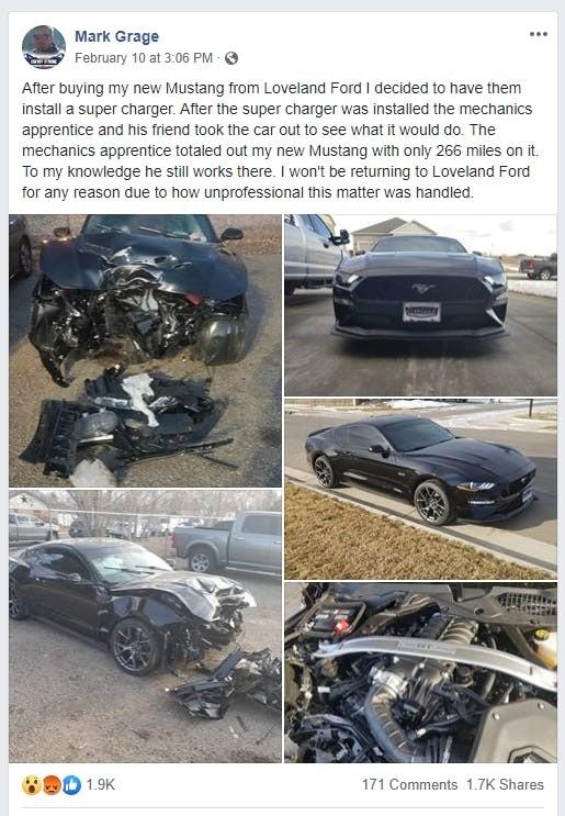 Ngày 10/2, chủ xe Mark Grage có chia sẻ câu chuyện lên Facebook và thu hút nhiều sự chú ý